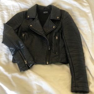 TopShop Moto Faux Leather Jacket sz 2 Black